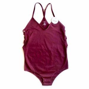 Tops - Burgundy Strappy Sided Bodysuit, Jr. Size Medium
